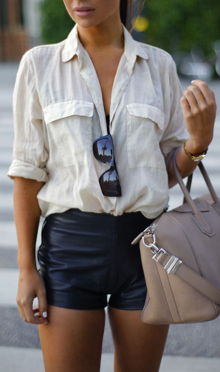 Leather shorts + button up.