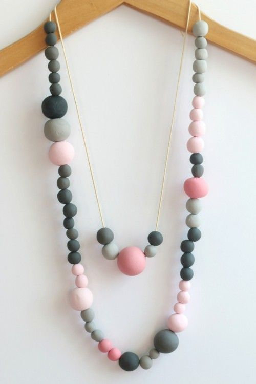 DIY Beaded Necklace with polymer clay -DIY  Collier de perles en pâte polymère