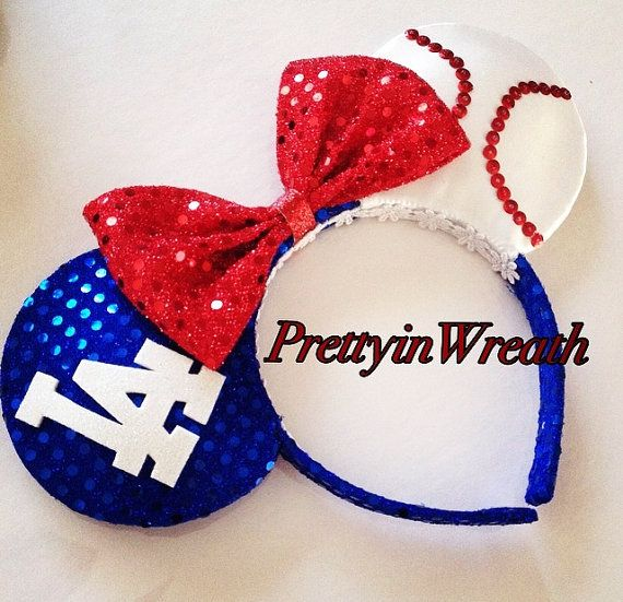 Los Angeles Dodgers inspired Mickey Mouse Ears by PrettyinWreath