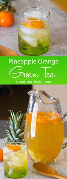 Home brewed Pineapple Orange Green Tea is crisp and cool with a hint of citrus and pineapple to get you ready for spring! Serve as is for a family friendly St. Patrick's Day, Easter, or Mother's Day drink
