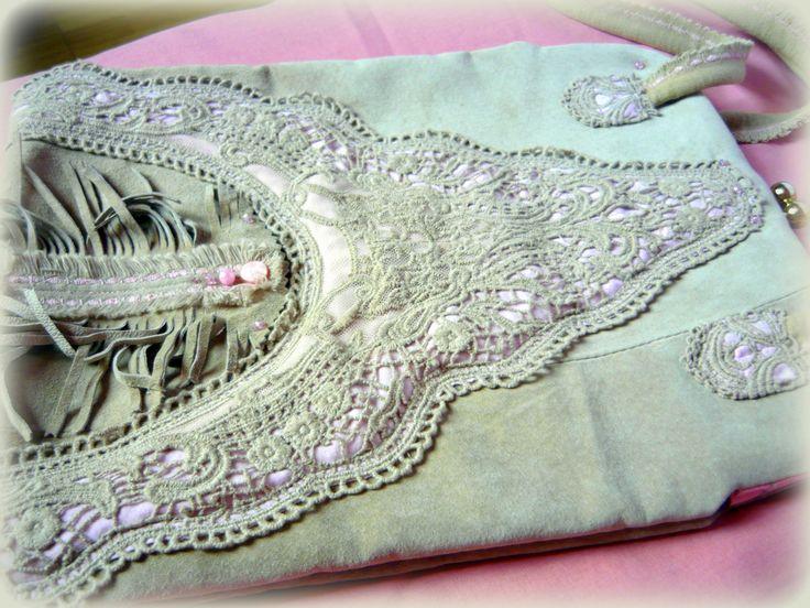 Handmade by Judy Majoros - Leather -crochet -frame handbag. Recycled bag.