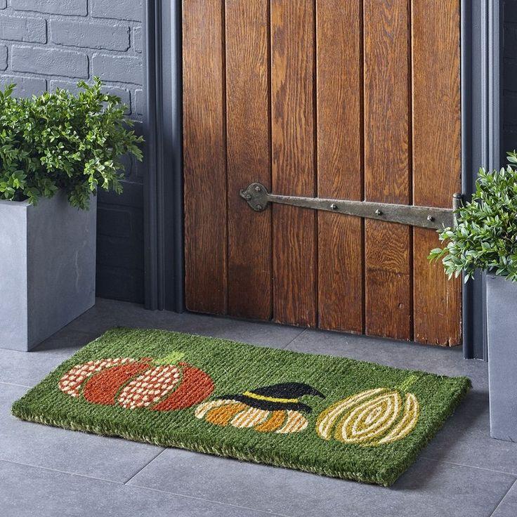 fall coir rug u2013 pumpkin this charming coir doormat displays a whimsical pumpkin patch