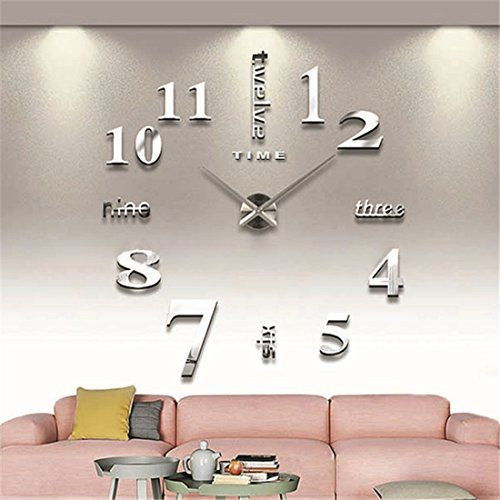GUFAN Modern Large 3D Wall Clock Numbers Letters DIY 3D Stickers Clock  Office Home Decor Gift