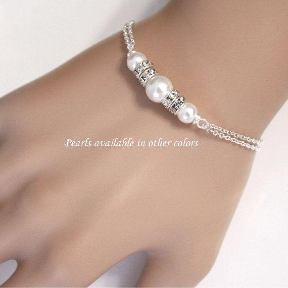Bridesmaid Bracelet, Swarovski White Pearl Chain Bracelet, Bridal Bracelet…