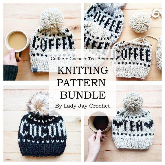Pattern Bundle Knit Coffee Cocoa Tea Beanie Patterns Etsy Hat Knitting Patterns Beanie Pattern Knitting Terms