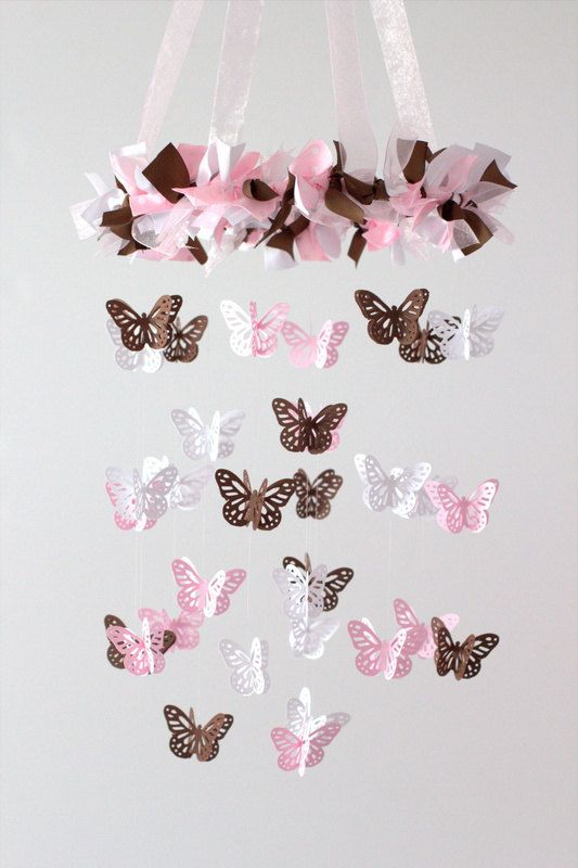 Pink Brown & White Small Butterfly Nursery por LovebugLullabies