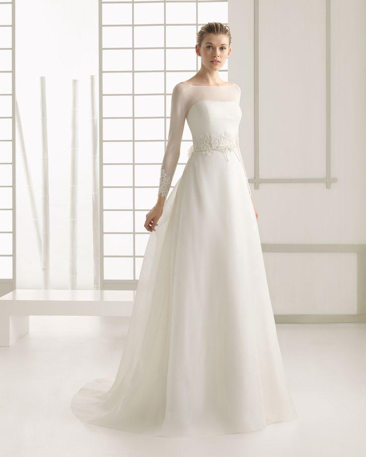 Silk Organza And Chiffon Wedding Dress With Beaded Lace