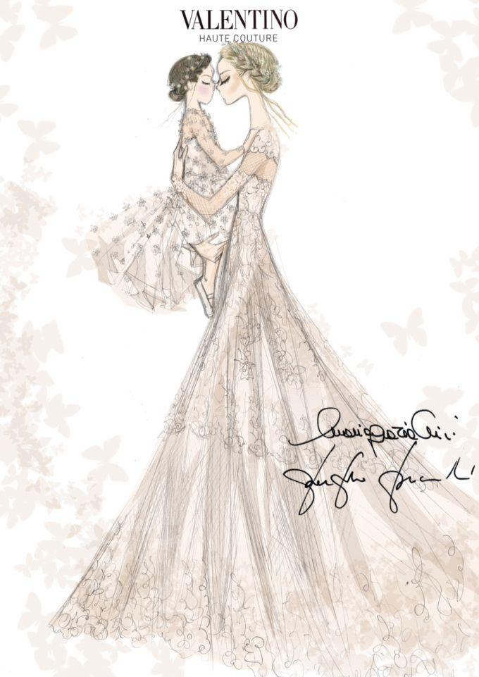 Sketch of Frida Giannini's Valentino wedding dress and her daughter Greta's custom Valentino look by Maria Grazia Chiuri and Pierpaolo Piccioli