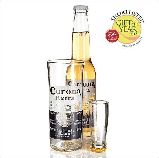 vaso original de botella cerveza reciclada