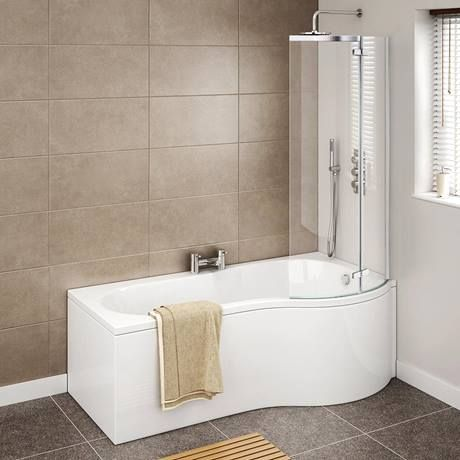 Cruze P Shaped Shower Bath - 1700mm with Hinged Screen & Panel Profile Image