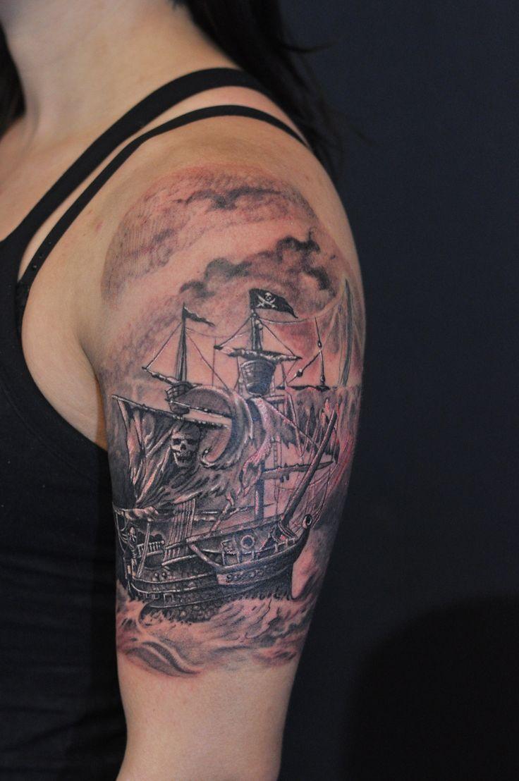 Pirate Ship Tattoo Sleeve | Half sleeve black and grey Pirate Ship tattoo