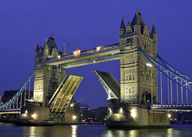 Tower Bridge, London.... It was so pretty lit up at night!