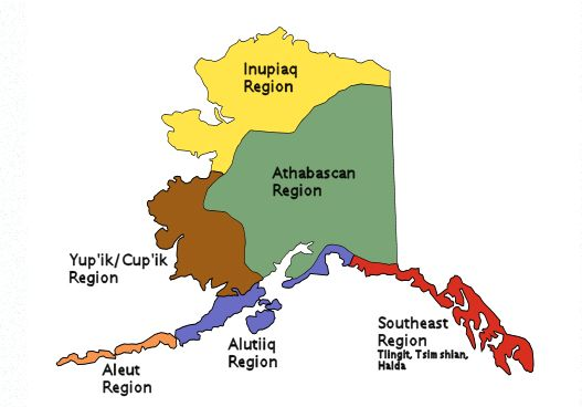 Map of Alaska tribes of the past First Americans Pinterest