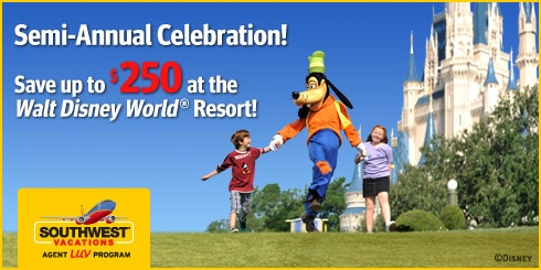 Book a flight + hotel vacation package at any Walt Disney World® Resort Hotel, and save up to $250 per reservation when using promotion code DISNEY250!      SAVE $50 on a total package price between $1,000 - $1,499.      SAVE $75 on a total package price between $1,500 - $1,999.  To book your reservations, call Maria at 1-416-693-7976 (Buenosgracia Enterprise) or email us at gmr6710@gmail.com. Please visit our website for details: http://www.buenosgracia.yolasite.com/