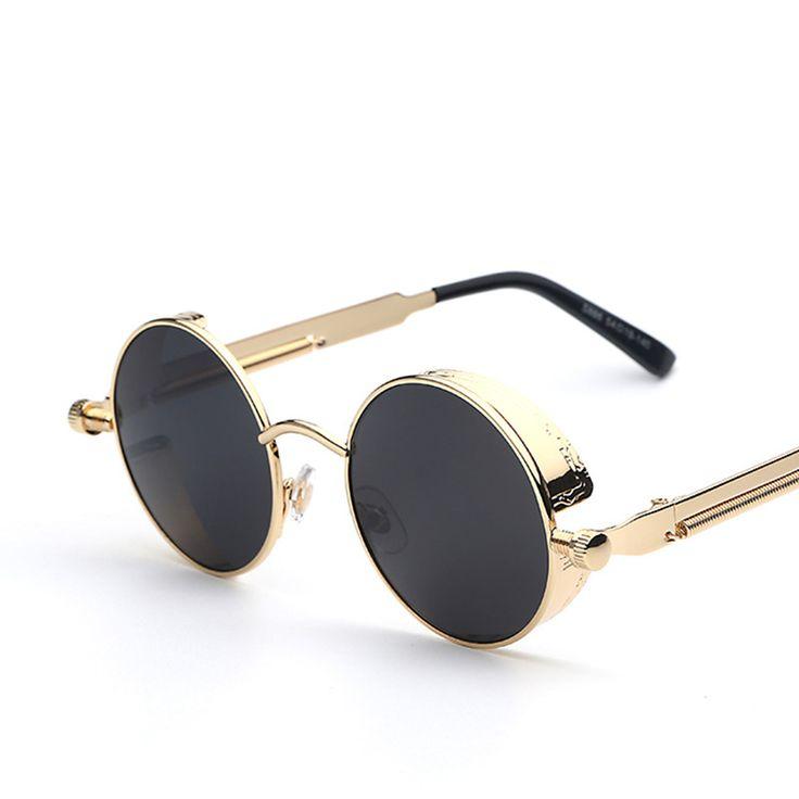 Gothic Steampunk Mens Sunglasses Coating Mirrored Sunglasses Round Circle Sun glasses Retro Vintage Gafas Masculino Sol – sunglasss.net