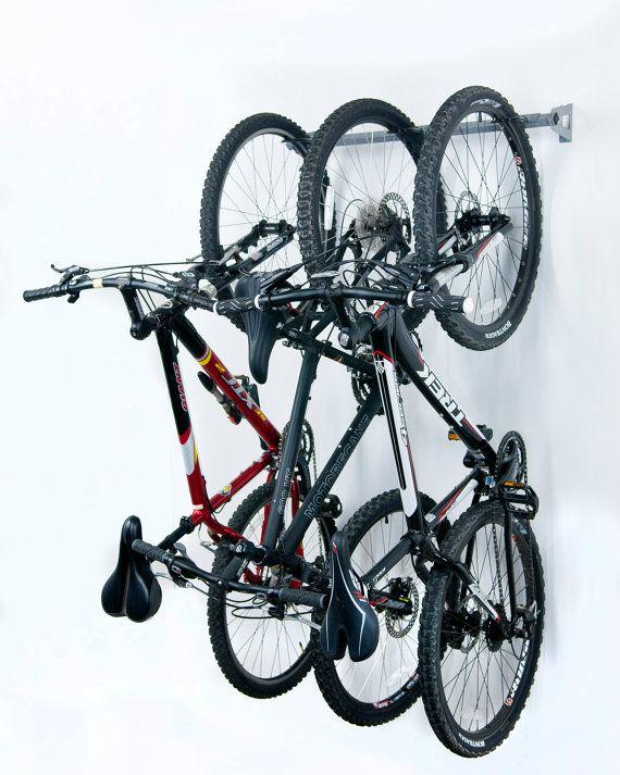 Bike Storage Rack Holds 3 Bikes by MonkeyBarsStorage on Etsy, $69.99