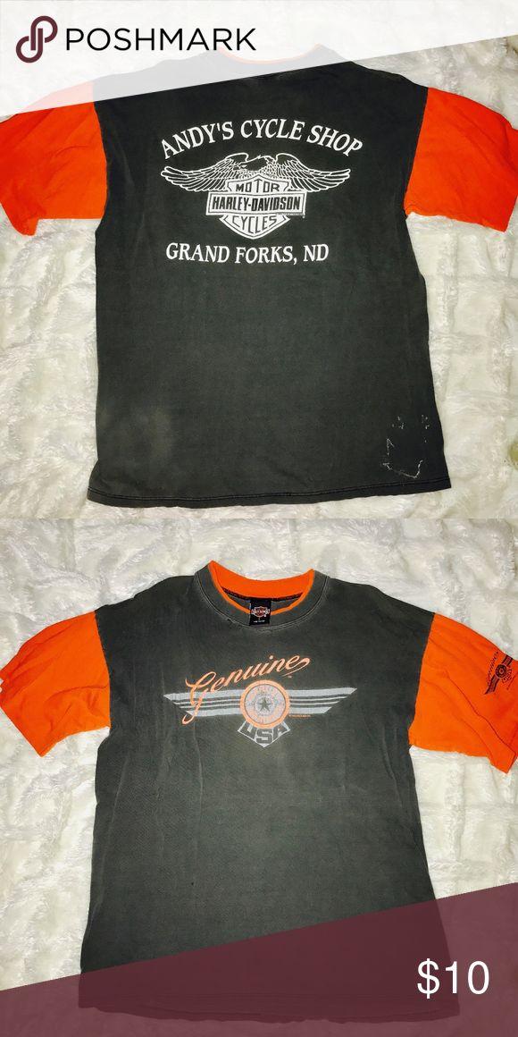 Harley-Davidson Vintage Tee T-shirt! Harley-Davidson Vintage Tee T-shirt! Great for DIY    # Distressed # Nascar # Harley Davidson # LF # Vintage # 90's # Rock & Roll # Chevy # American Made # Band # Concert # Furst of a Kind # Oversized # Unisex #motorcycle Harley-Davidson Shirts Tees - Short Sleeve