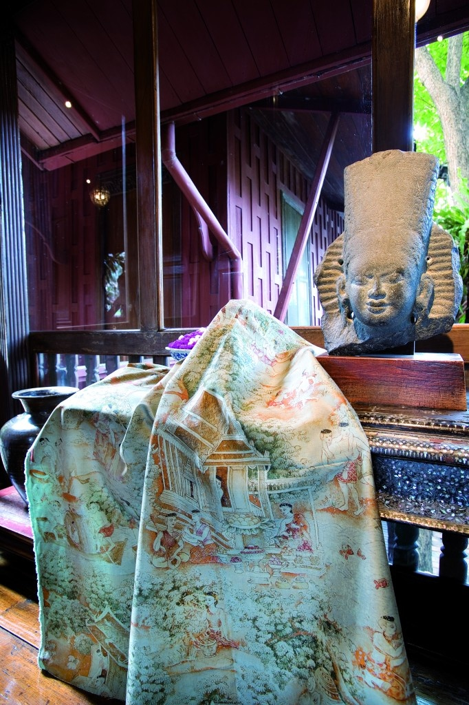 Jim Thompson fabric, 'Jim's Dream', at the Jim Thompson 'House on the Klong', Bangkok.