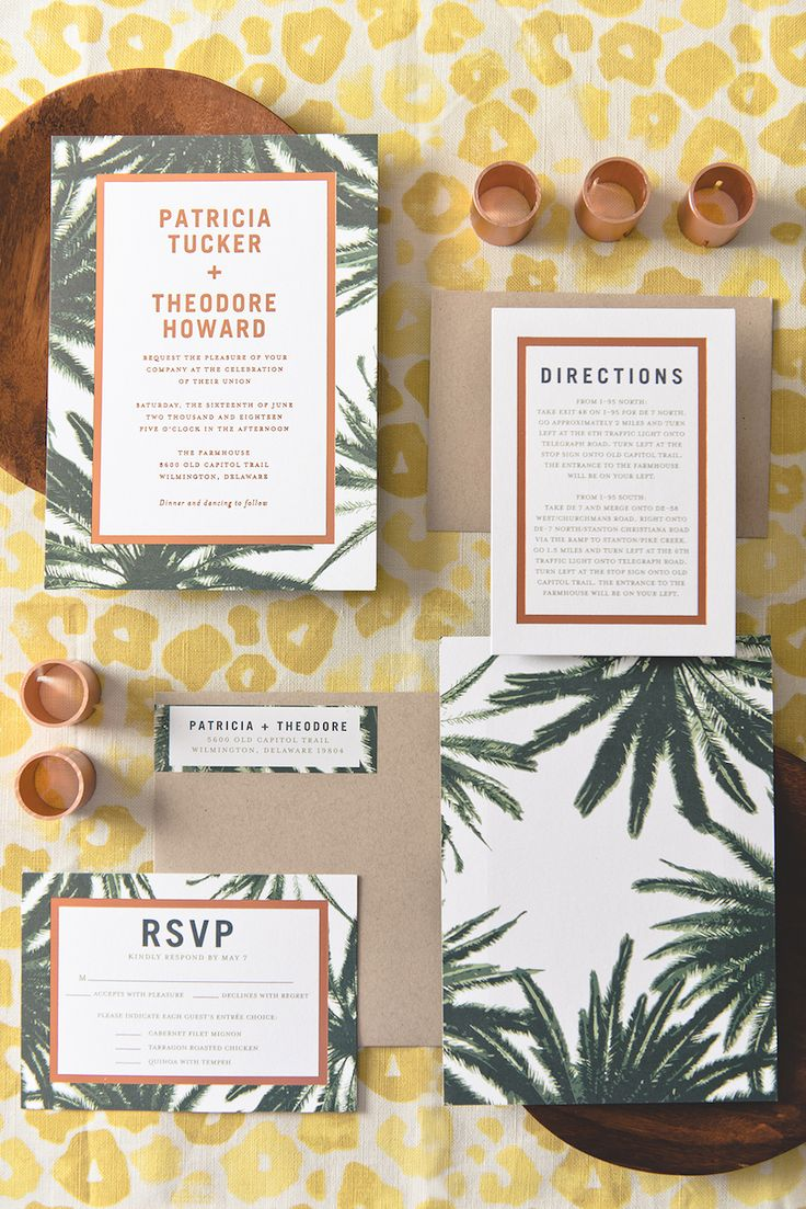 Palm-inspired wedding invitation suite from @WeddingPaper! #invitations #stationery #wedding #weddinginvites