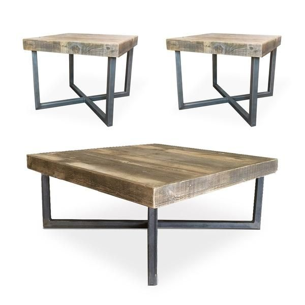 Reclaimed Wood And Metal Square Coffee And End Tables Set With Images Coffee And End Tables Coffee Table Coffee Table Wood