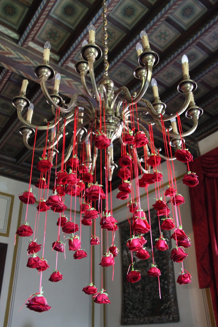 #Inspiration...I don't like red; however, white or pink would be nice. B. Flowers cascading from hanging light or chandelier. Floral decor for wedding or event. Valentine's Day.