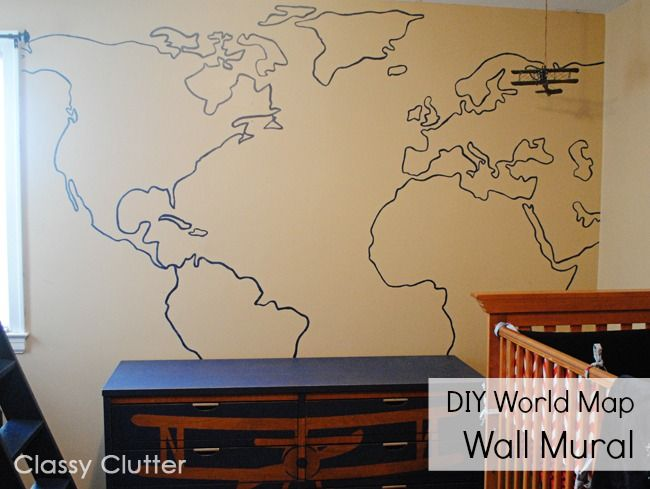 DIY World Map Wall Mural - This is much simpler than it looks! - Click for tutorial -  Classy Clutter