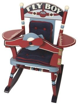Fly Boy Airplane Rocker - transitional - Kids Chairs - Sallys-Store