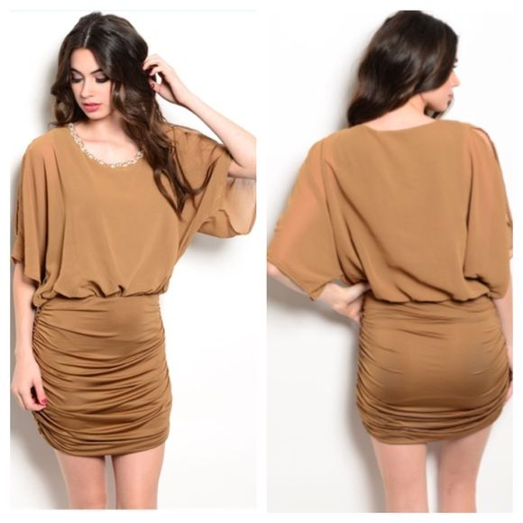 "Brown dress Availability- S•M•L • 2•1•2 S: L 35"" B 34""-44"" M: L 36"" B: 36""-46"" L: L 37"" B 38""-48""  Materials: 100% polyester. Contrast is 93% polyester/ 7% spandex. Fully lined (tank/ bodycon lining). Very stretchy and has a jeweled neckline. Cold shoulders.NWT. Brand new with tags. No tradesPrice has been greatly reduced and is now firm Boutique Dresses"