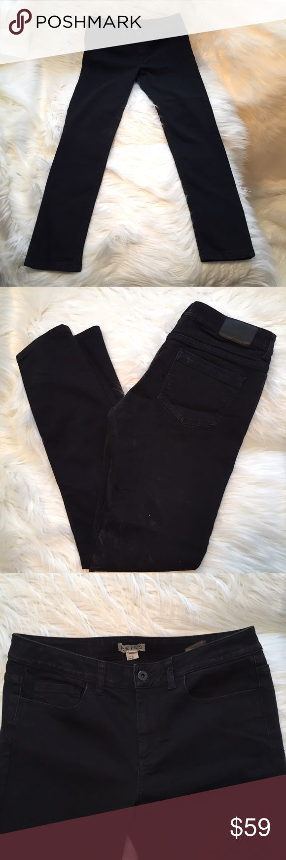 """Reiss Smith Patti skinny black jeans size 8 VGUC REISS Smith Patti jeans - skinny, stretchy, black. Size US8. 31"""" unstretched waist. 9.25"""" rise. 31"""" inseam. 51% cotton. 26% viscose. 21% polyester. 2% elastane. These jeans are a deep dark black but I have overexposed the photos to show detail. Reiss Jeans Skinny"""