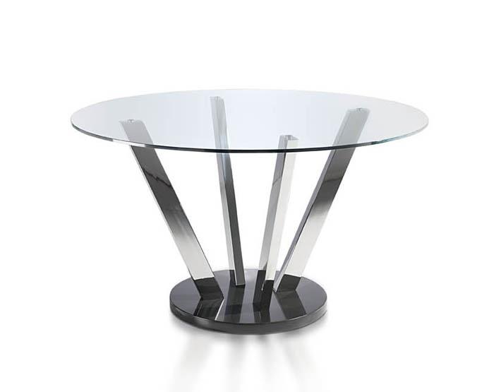 Mesa comedor redonda en cristal templado y patas en acero - Dimensiones mesa comedor ...