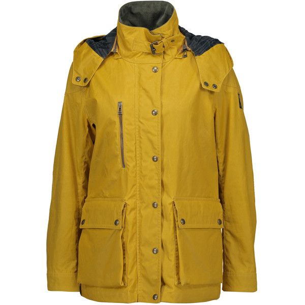 Belstaff - Tourmaster Coated Cotton Hooded Jacket ($298) ❤ liked on Polyvore featuring outerwear, jackets, mustard, biker jackets, leather motorcycle jacket, belstaff jacket, motorcycle jacket and yellow leather jacket