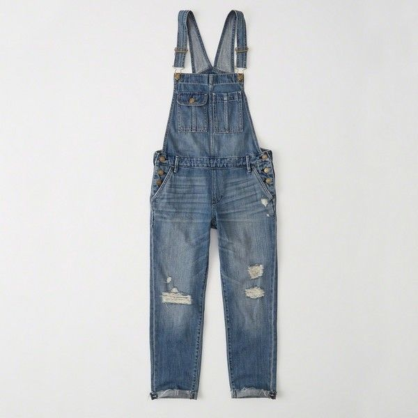 Abercrombie & Fitch Ripped Boyfriend Overalls ($98) ❤ liked on Polyvore featuring jumpsuits, ripped medium wash, overalls jumpsuit, distressed overalls, bib overalls and cropped jumpsuit