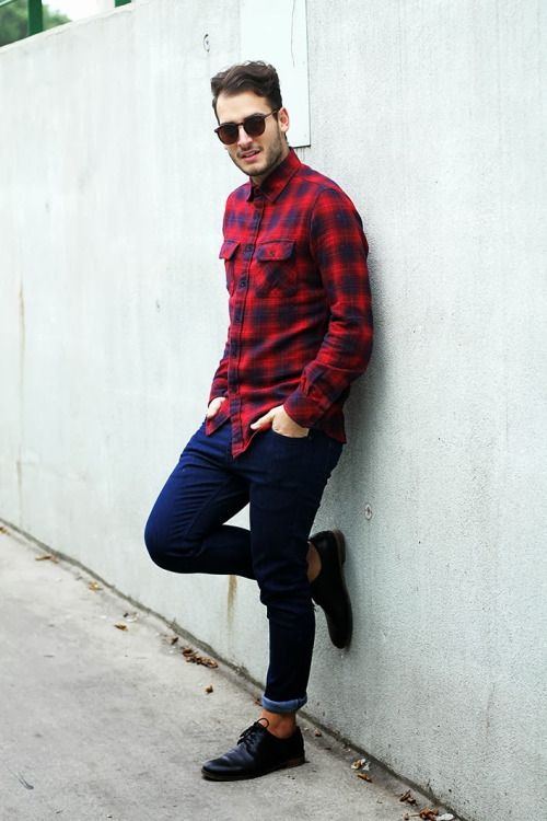 red plaid shirt men style  plaid shirt outfits fashion