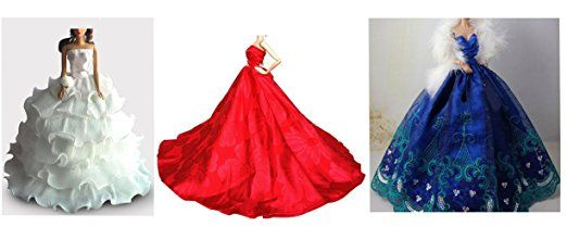 OurKosmos® Splendida partito Handmade abito Vestiti & abiti da sposa accessori bambola Barbie Doll-3PCS (Rosso / blu / bianco)