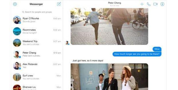 Facebook Messenger, disponibil ca un serviciu separat, prin intermediul unui browser
