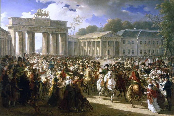 Napoléon à Berlin (Meynier). Après avoir vaincu les forces prussiennes à Iéna, l'armée française entre dans Berlin le 27 Octobre 1806.: