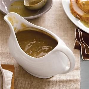 Giblet Turkey Gravy Recipe -Gravy enhanced with giblets is traditional in our house. Try this hearty gravy with sage and a dash of wine and you'll love it, too. —Jeff Locke, Arma, Kansas
