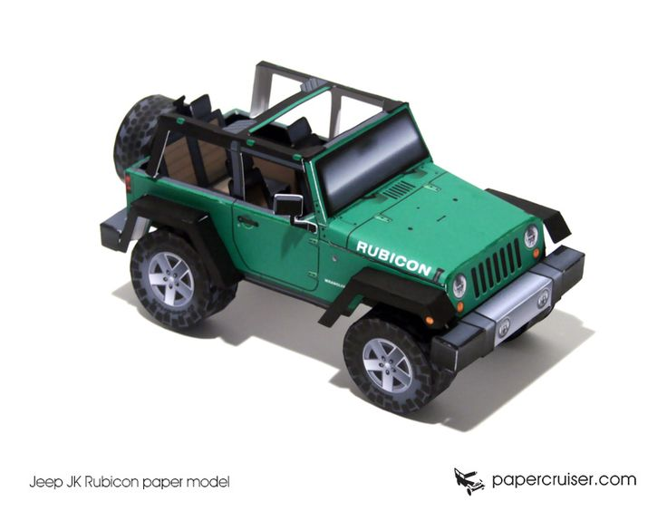 Jeep JK Rubicon paper model | http://papercruiser.com/downloads/jeep-rubicon-jk-open-top/