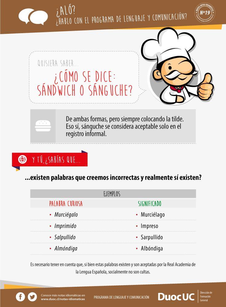 ¿Cómo se dice: sándwich o sánguche? - Breves Notas Idiomáticas | Duoc UC