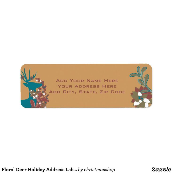Floral Deer Holiday Address Labels Address labels, Christmas - free christmas return address labels template