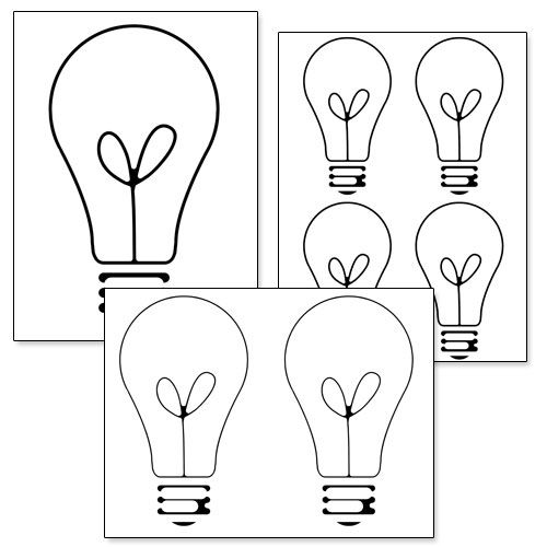 printable light bulb template from shapes and templates printables. Black Bedroom Furniture Sets. Home Design Ideas