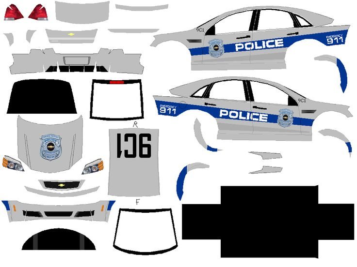 003 Paper Police Cars Black And White Car Paper Model