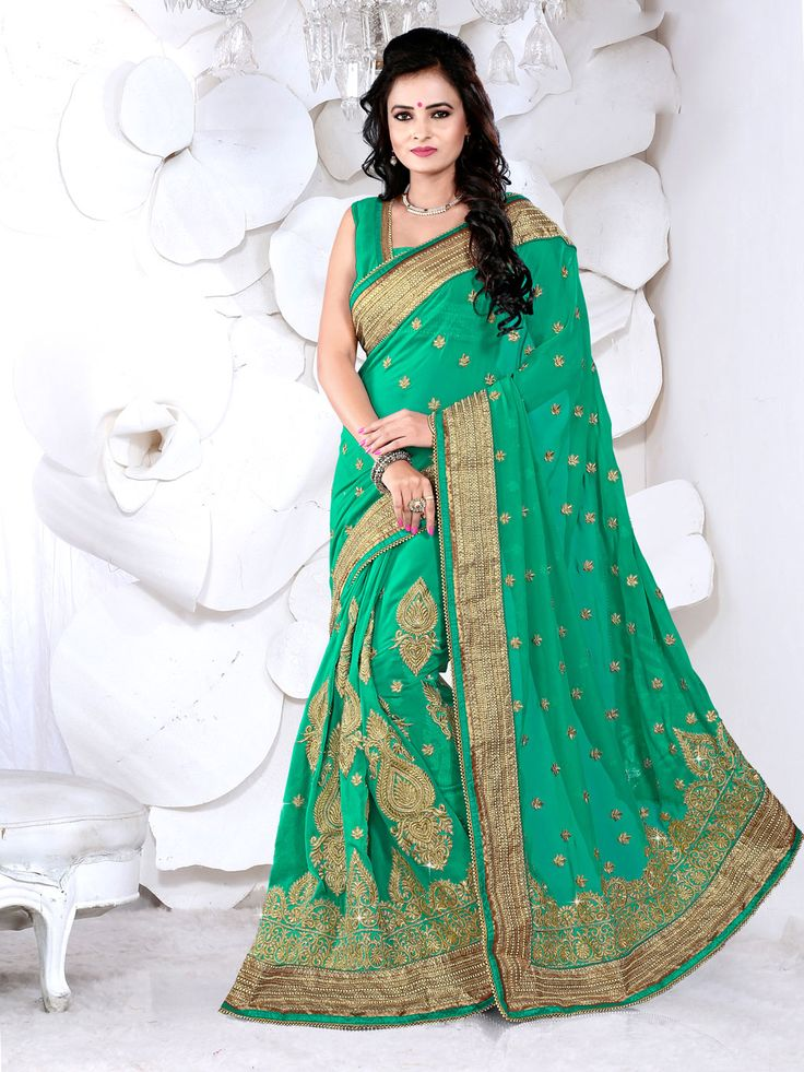 Sea Green Georgette Wedding Saree 63461  #WeddingSarees #OnlineShopping