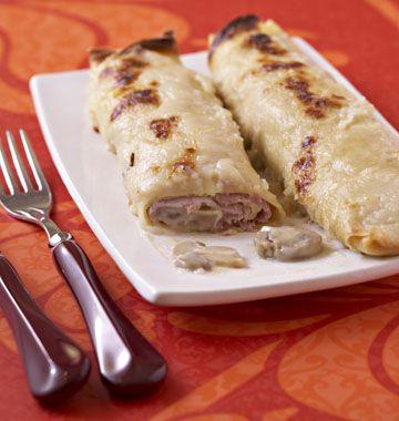 Crêpes farcies au jambon, champignons et béchamel - Recettes de cuisine Ôdélices