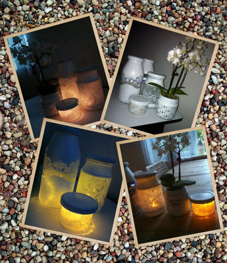 Sylteglas, gammel blonde gardin og hvid mat spray maling....