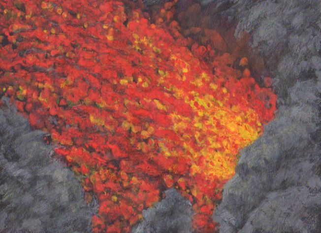 Etna - lava stream, watercolor and pastel by Jana Haasová