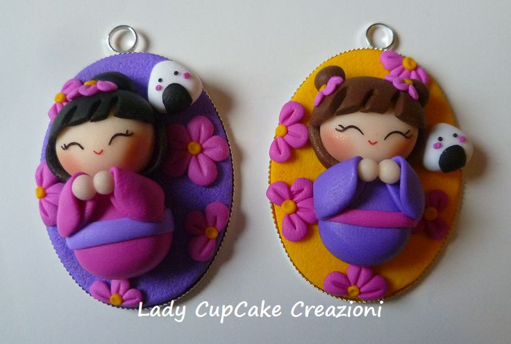 Lady Cupcake Creazioni: polymer clay cameos, Japanese doll and onigiri.