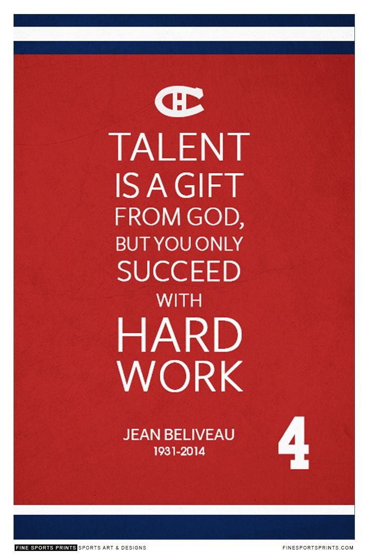 """Jean Beliveau Quote on Print. See more at www.finesportsprints.com #beliveau #sportsquote #canadiens"""