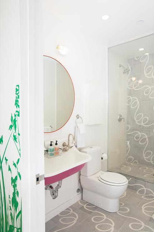 Pink and gray contemporary girl's bathroom