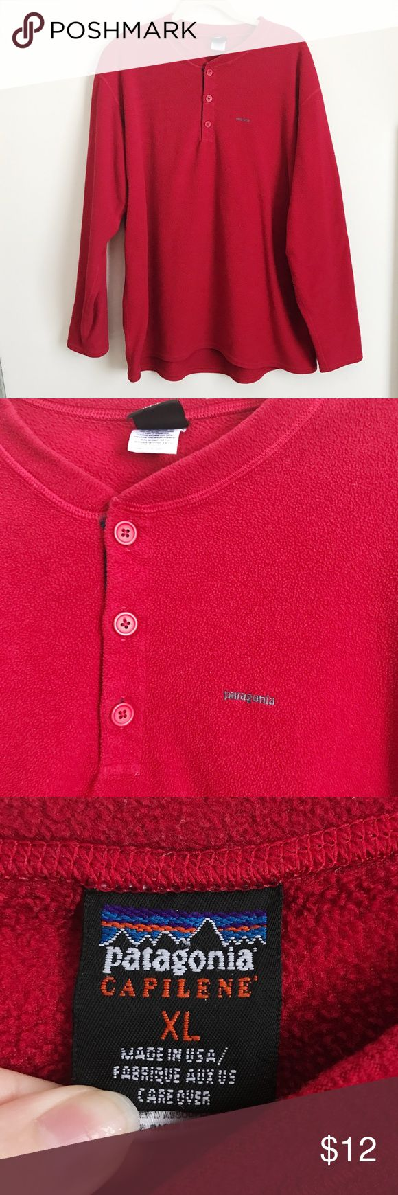 Patagonia Capilene Button Up Fleece Patagonia red button up fleece long sleeve. Size XL. There is a small hole on the back but it could be sewn or patched up. Patagonia Shirts Sweatshirts & Hoodies